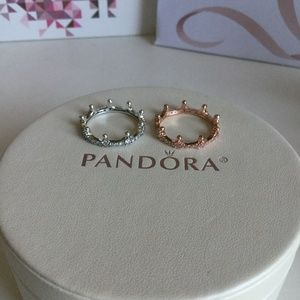 11ece3388 Pandora Jewelry | Enchanted Crown Ring Set Rose Silver | Poshmark